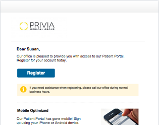 Privia portal email example